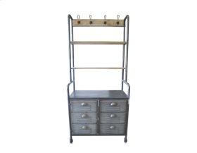 Shelf W/2 Doors-galvonized Metal Finish-weathered Wood Finish Shelves-rta