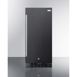 """Summit15"""" Wide All-refrigerator for Built-in or Freestanding Use, With Digital Controls, LED Light, Lock, and Black Exterior Finish; Replaces Ff1538b"""