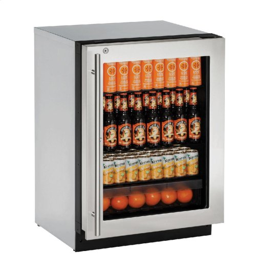 """2000 Series 24"""" Glass Door Refrigerator With Stainless Frame (lock) Finish and Right-hand Hinged Door Swing"""