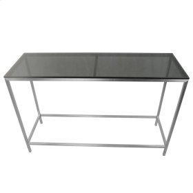 Shea KD Console Table Frame(TOP SOLD SEPARATELY), Brushed Stainless Steel