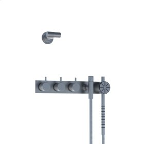 Two-handle build-in mixer with 1/4 turn ceramic disc technology and diverter - Brushed stainless steel