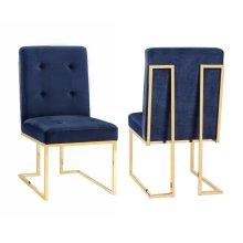 Akiko Navy Velvet Chair - Set of 2