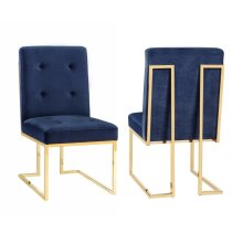 Akiko Navy Velvet Chair - Set of 2