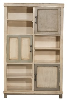 Larose Tall Accent Cabinet - Rustic White and Gray