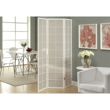 FOLDING SCREEN - 3 PANEL / WHITE FRAME WITH FABRIC INLAY