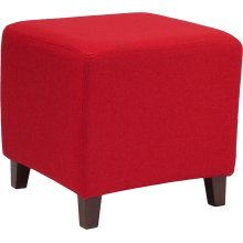 Ascalon Upholstered Ottoman Pouf in Red Fabric