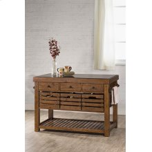 Tucan Retreat® Kitchen Island With Adjustable Shelf and 3 Drawers - Antique Pine