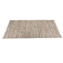 Beige Leather Chindi 5' x 8' Rug (Each One Will Vary)
