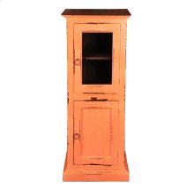 CC-CAB513TLD-CRRW  Cottage Glass Door Storage Cabinet  Coral/ Raftwood