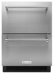 "24"" Stainless Steel Double Refrigerator Drawer - Panel Ready Product Image"