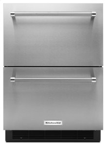 """24"""" Panel Ready Double Refrigerator Drawer - Stainless Steel"""