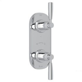 """Polished Chrome Perrin & Rowe Holborn 1/2"""" Thermostatic/Diverter Control Trim with Holborn Metal Lever"""