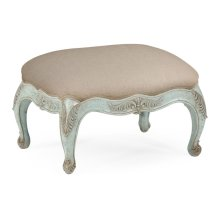 Small French Provincial Walnut Footstool Pale Green