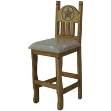 """17"""" x 43"""" x 24"""" Stone Star Barstool with Cushion Seat and Stone Star"""