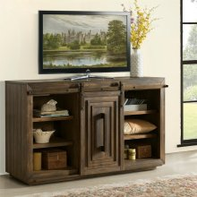Modern Gatherings - 60-inch Sliding Door Console - Brushed Acacia Finish