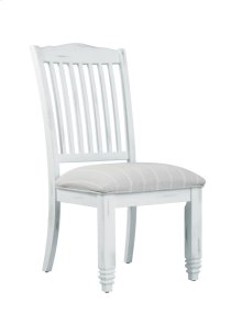 Wood Back Upholstered Bottom Side Chair Graystone-antique White Finish-fabric