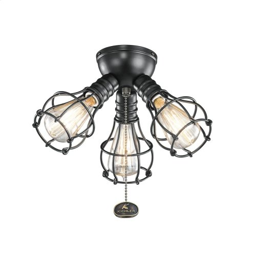 3 Light Industrial Decorative Fitter Light Kit Satin Black