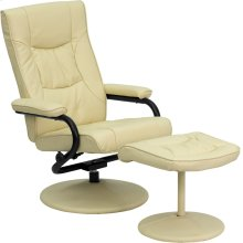 Contemporary Multi-Position Recliner and Ottoman with Wrapped Base in Cream Leather