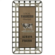 Always Fresh  Wooden and Galvanized Metal Farmhouse Wall Art  Built in Hanging Hardware