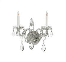 Traditional Crystal 2 Light Swarovski Strass Crystal Chrome Sconce