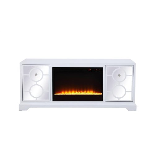 """Sleek and vibrant, this transitional media fireplace cabinet combo will make a striking statement in any room can showcase up to a 60"""" flat screen TV at a perfect height. Featuring top-quality mirror panel with circle overlay and hand-painted in a semi-gloss white finish, accentuated with crystal square knobs. Functional and chic, it features 2 […]"""