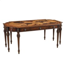 DESK W/INTRICATE INLAID MARQUETRY TOP