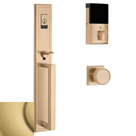 Satin Brass and Brown Evolved Hollywood Hills Full Escutcheon Handleset