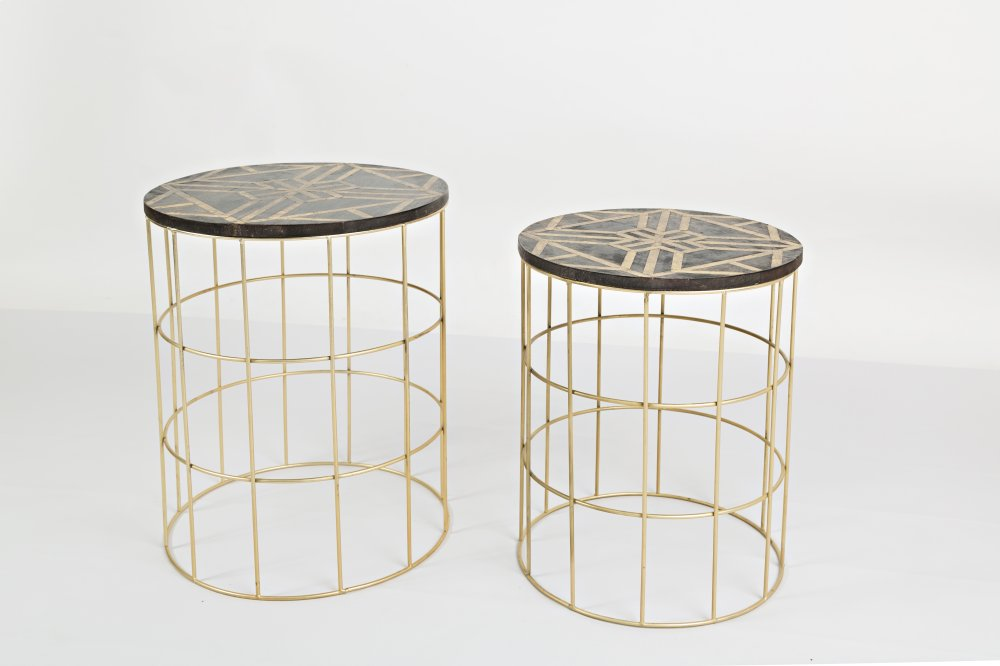 Global Archive Mango And Brass Accent Tables (set Of 2)