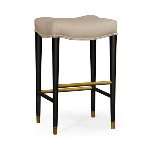 Black Bar Stool, Upholstered in MAZO