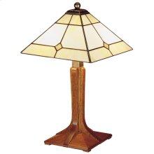 Art Glass Shade, Oak Small Corbel Base Lamp