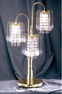 Brass Spider Table Lamp with Crystal & Brass Base