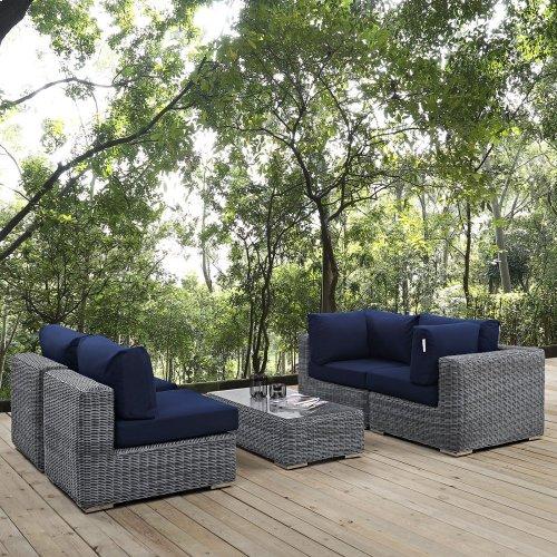 Summon 5 Piece Outdoor Patio Sunbrella® Sectional Set in Canvas Navy