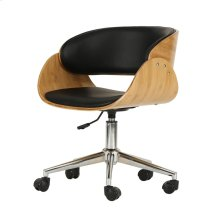 Lexie KD PU Bamboo Swivel Office Chair, Black/Natural