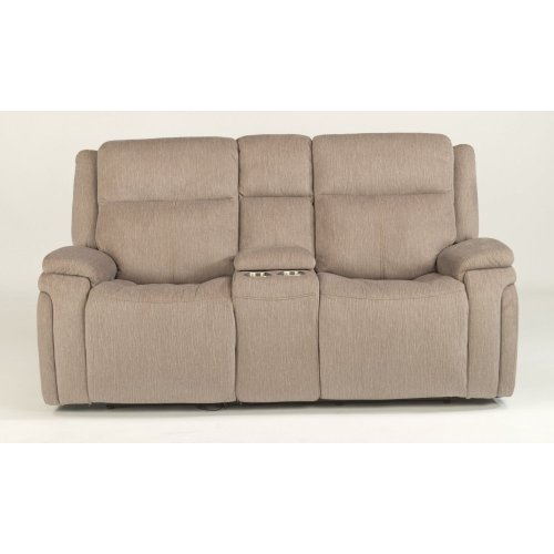 Rocket Fabric Power Reclining Loveseat with Console and Power Headrests