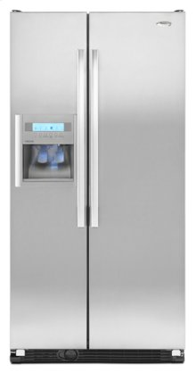 Monochromatic Stainless Steel Whirlpool Gold® Counter Depth 25 cu. ft. ENERGY STAR® Qualified Side-by-Side Refrigerator OFF MACOMB FLOOR