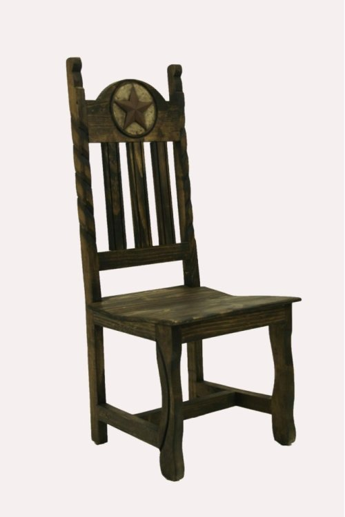 Dining Chair W/Stone Star,Rope&Wood Seat