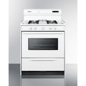 "SummitDeluxe Gas Range In 30"" Width With Electronic Ignition, Digital Clock/timer, and Oven Door With Light"
