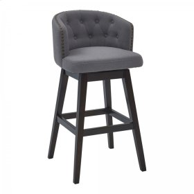 """Armen Living Celine 30"""" Bar Height Barstool in Espresso Finish and Grey Fabric"""