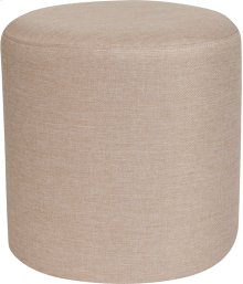 Barrington Upholstered Round Ottoman Pouf in Beige Fabric