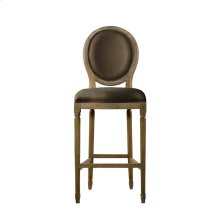 French Vintage Louis Back High Bar Stool Brown Linen