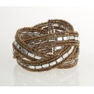 BTQ Brown and Silver Braided Cuff Product Image