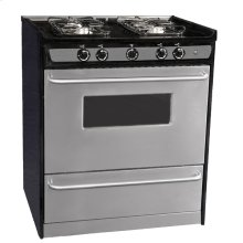 "Slide-in gas range in 30"" width, with stainless steel doors and four sealed burners"