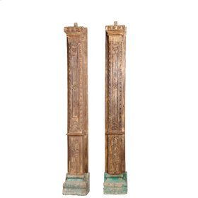 Wooden Half Pillar Set of 2