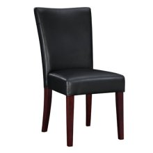 "Black Bonded Leather Parsons Chair, 18-1/2"" Seat Height"