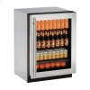 """U-Line 2000 Series 24"""" Glass Door Refrigerator With Stainless Frame Finish And Field Reversible Door Swing (115 Volts / 60 Hz)"""