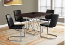 """DINING CHAIR - 2PCS / 34""""H / BLACK LEATHER-LOOK / CHROME Product Image"""
