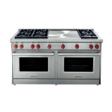 """60"""" Gas Range - 6 burners with Infrared Charbroiler and Griddle"""