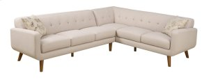 2 PC Sectional-lsf Sofa-rsf Corner Sofa Beige W/2 Accent Pillows