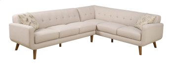 2 PC Sectional-lsf Sofa-rsf Corner Sofa Beige W/2 Accent Pillows Product Image