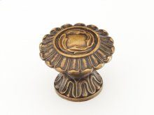 "Solid Brass, Symphony, Swans, Round Knob, 1-1/2"" diameter, Dark Italian Antique finish"